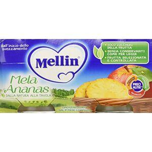 Mellin Omogeneizzato Di Frutta Mela Ananas 100% Naturale  24 Vasetti da 100 gr