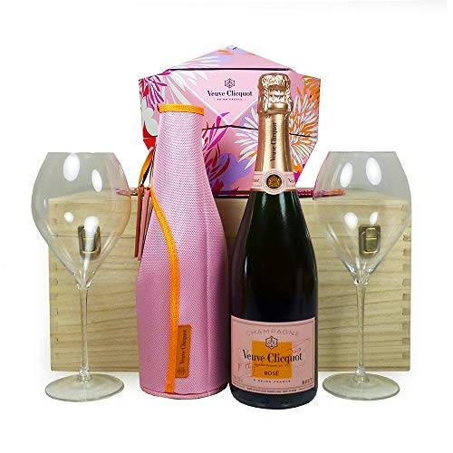 fine food hampers veuve clicquot rose champagne 75cl con giacca dello scaldabiberon, bicchieri veuve clicquot abbinati e secchiello per il ghiaccio pieghevole