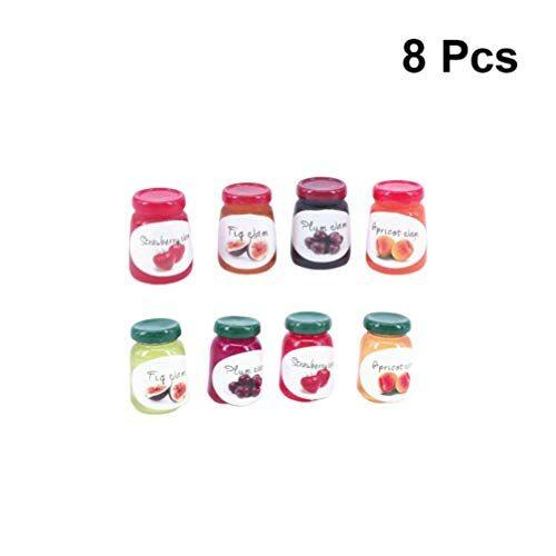 healifty miniatura casa delle bambole marmellata di frutta giocattoli scala 1:12 casa delle bambole giardino delle fate accessori da cucina giocattoli per bambina 8 bottiglie (colore misto)