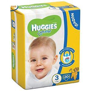 Huggies 4 x HUGGIES Pannolini Bimbi Unistar Midi Taglia 3 4-8kg 20 Pz