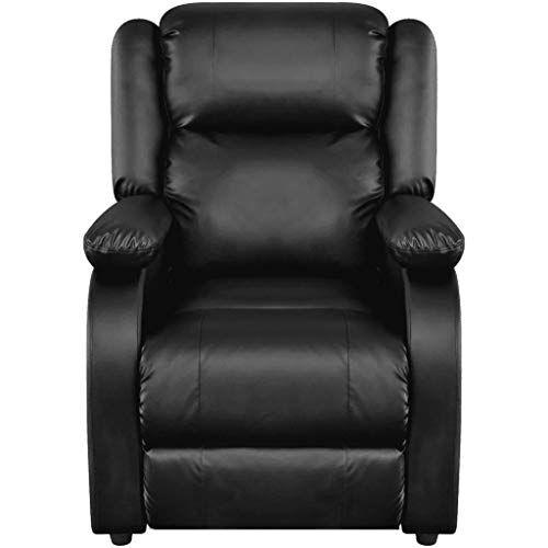 wenxia - sedia massaggiante nera in pelle sintetica, funzione riscaldamento, poltrona tv
