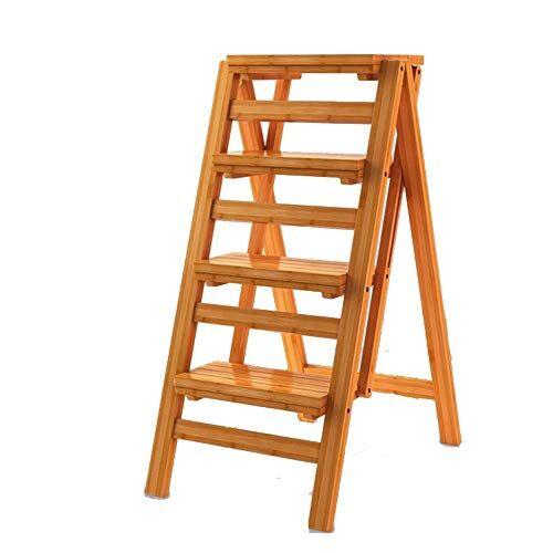 Timber Stool 3 Step Ladder Safety Antiscivolo, Pieghevole Fold Up Steps, Sgabello passo da cucina portatile, per attrezzi da giardino casa fai da te (Color : Wood color, Size : 42cm*67cm*92cm)