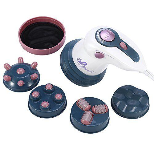 zyyini massaggiatore anticellulite 4 in 1, bruciatore di grasso elettrico a vibrazione infrarossa anticellulite con 4 accessori intercambiabili, per sollievo dal dolore fatica e rigidit muscolare (rosso)