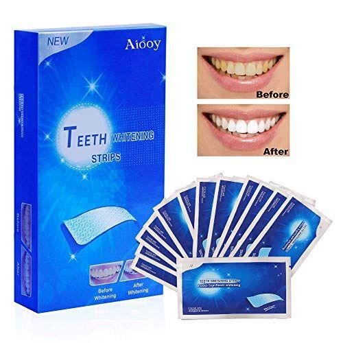 aiooy strisce sbiancanti denti, sbiancanti dentale, sbiancante per denti, sbiancamento dei denti sicuro ed efficace, rimozione professionale di macchie di denti, 14 buste 28 pezzi