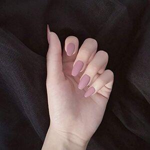 Handcess Coffin opaco chiodo falso rosa ballerina stampa sulle unghie Pure copertura completa di colore falso Nail Tips per donne e ragazze