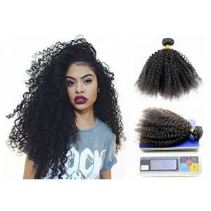 Greemeo Extension Matassa Capelli Veri Tessitura Ricci con Piccoli 100g/Ciocche Capelli Umani Brasilianii Afro Curly Remy Human Hair (8 Pollici, Naturali Colore)