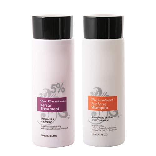 Biuzi Set di shampoo, BiuZi 100 ml/2 pezzi 5% Brasile Trattamento di cheratina Shampoo Set per la cura dei capelli Raddrizzare la riparazione dei danni