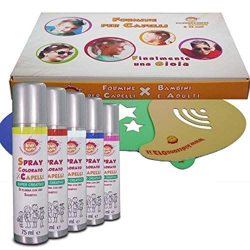 zone lacca spray colorati per capelli bambini e adulti box formine per capelli  linea parrucchieri kids zone 0-13  pigmenti di qualit [giallo - rosso - bianco - blu - fucsia] 20 formine