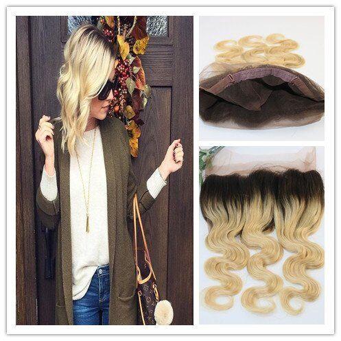 Evermagic Hair 100% capelli umani 360pizzo chiusura frontale con Full Lace Band T1B/613# Body Wave (25,4- 50,8cm)