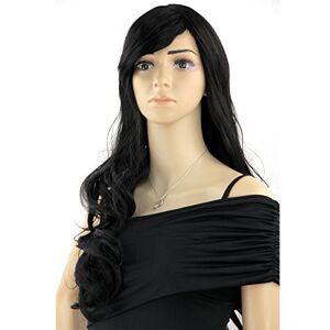 OUBO nuovo da donna femminile sexy parrucca capelli ricci lunghi capelli parrucche capelli estensione Jane 1# Nero con spazzola + parrucca come vera capelli 63cm 198G Top Offerta