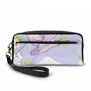 FGHJKL Pencil Case Pen Bag Pouch Stationary,Flourishing White Cherry Blossom Three Flying Fluffy Bird Over SnowyMountain,Small Makeup Bag Coin Purse