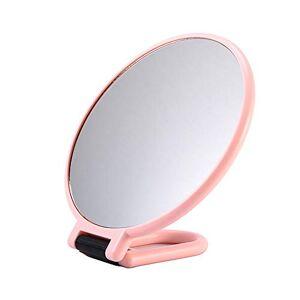 luckiner Specchio ingranditore a specchio bifacciale, pieghevole, con supporto per il trucco, colore: rosa