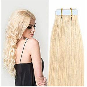 Luoleina Extension di capelli umani a clip, set da 20 pezzi, da 50 g, con nastro in poliuretano invisibile, senza soluzione di continuit, nastro adesivo semi-permanente
