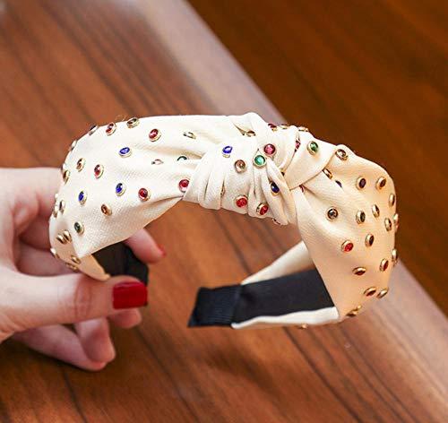 sufengshop Moda Donna Accessori per capelli Fasce in tessuto con strass multicolore Fasce per capelli a nodo incrociato per ragazze