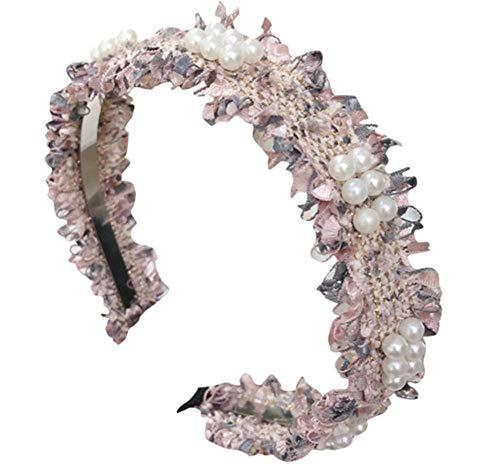 sufengshop Fascia per capelli in cristallo perlato Lunetta per donna Testa semplice Avvolgimento in tessuto Fascia per capelli Moda Copricapo Accessori per capelli per ragazze