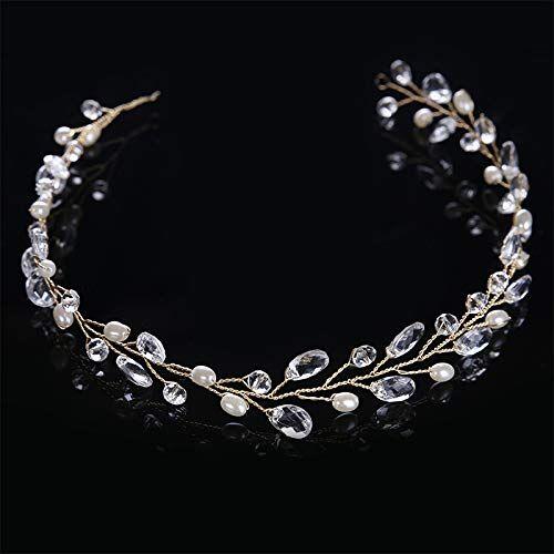 KANEED Head Bands Hoops Moda foglie accessori per capelli da sposa gioielli di cristallo fatti a mano gioielli da sposa fascia copricapo per le donne (oro) (Colore : Gold)