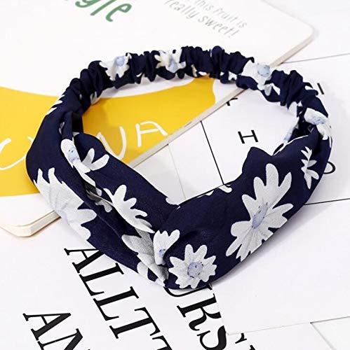 ZYABCDG Fasce, Accessori per capelli Donne di moda fascia in tessuto annodato Croce fascia dei capelli fiori arco chiffon del cerchio delle donne,C2,1 PEZZO