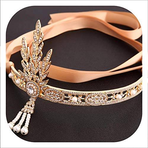 Once Pro Accessori moda capelli Cristalli nappe della perla dei capelli del cerchio della fascia dei capelli di nozze gioielli da sposa Hairbands,Gold1