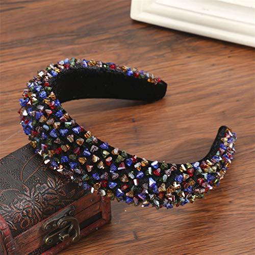 Meng.neoi Perline colorate Fasce per capelli in velluto di spugna spessa Fasce per capelli alla moda con ghiaia brillante Accessori E