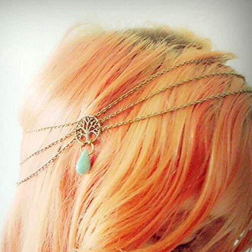 Fashband Boho Headchain Albero della vita Turchese Goccia Fascia frontale Fascia fantasia Corona Tiara Moda Accessori per capelli Gioielli per festival per donne e ragazze (oro)