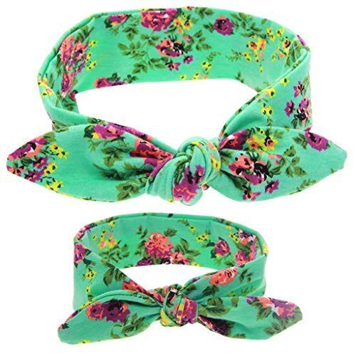 ZHFEL Fasce Per Capelli Bambino Mamma,Antiscivolo Turbante Floral Printed Carino Cerchietti Capelli Accessori Moda Headwrap Per Festival Donne Sport Facciale-verde