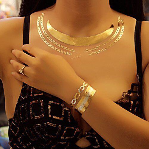 LK Trend & Style Set di 4regalo moda gioielli collana Temporanei Oro Metallizzato Tattoos Fiona set DLK Trend & Style