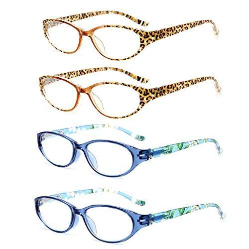 GONGBALA DONGBALA signore occhiali da lettura, gli occhiali di moda lightweigh con cerniere a molla per le donne di conforto e gli uomini + Pelle di leopardo Full frame resina blu (4 pezzi) + 1.0,3.0