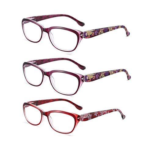 CHENGXINGF 3 pezzi, anti-luce blu, occhiali da lettura moda femminile occhiali da lettura, ad alta definizione comodi occhiali da lettura di mezza et e anziani, occhiali molla di torsione, unisex, leggero e con
