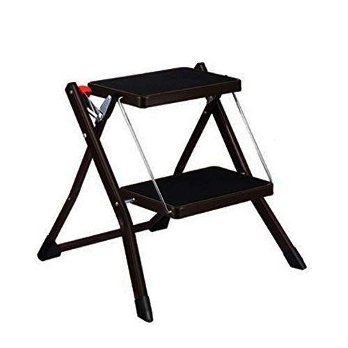 Timber Stool Piccolo sgabello pieghevole 2 passi, per adulti e bambini scala interna, sicurezza antiscivolo, per sgabello da cucina casa giardino strumento fai da te (Color : Brown, Size : 49x48.5x44.5CM)