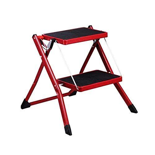 Timber Stool Piccolo sgabello pieghevole 2 passi, per adulti e bambini scala interna, sicurezza antiscivolo, per sgabello da cucina casa giardino strumento fai da te (Color : Red, Size : 49x48.5x44.5CM)