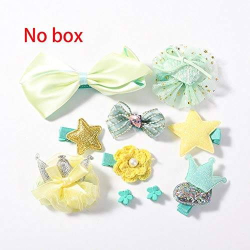 jiangyanyiliao 10 / box set bebé bambino carino nastro per capelli cerchio dei capelli tessuto fiore capelli clip,scatola gialla no
