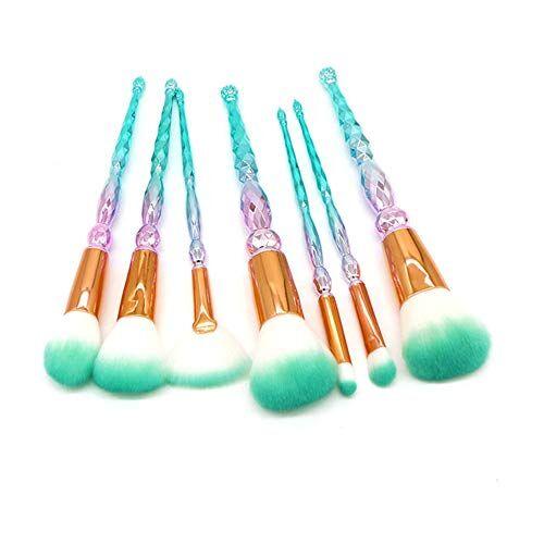 xmjm set di 7 set di pennelli per trucco, pennello per il trucco a spirale in fibra di colore, regalo perfetto per la tuta integrale,greenbristles