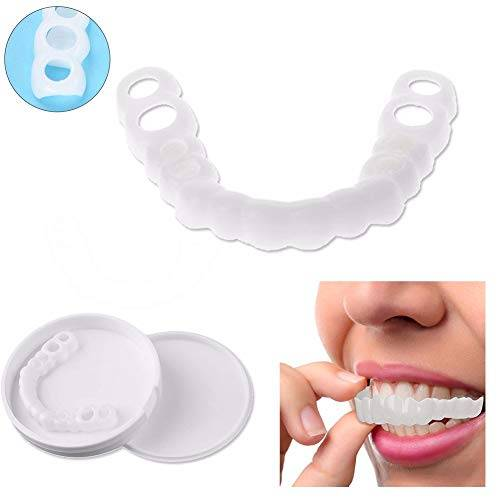 gzg sbiancante denti instant perfect smile senza conservanti and residui comfort fit flex denti cosmetici impiallacciatura uomo donna design pratico (inferiore+superiore)