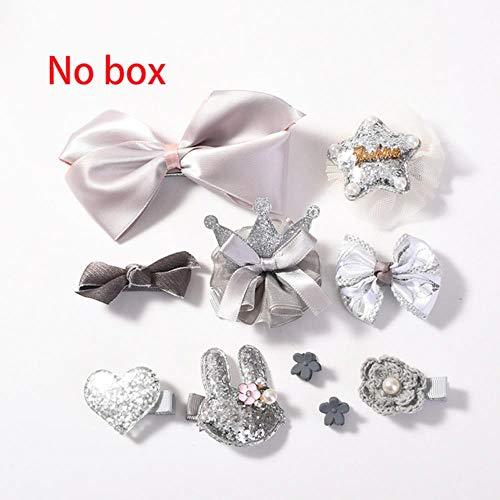 jiangyanyiliao 10 / box set bebé bambino carino nastro per capelli cerchio dei capelli tessuto fiore capelli clip,no scatola - grigio