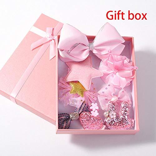 jiangyanyiliao 10 / box set bebé bambino carino nastro per capelli cerchio dei capelli tessuto fiore capelli clip,gift box - rosa