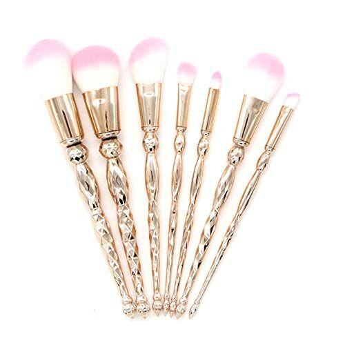 xmjm set di 7 set di pennelli per trucco, pennello per il trucco a spirale in fibra di colore, regalo perfetto per la tuta integrale,pinkbristles(rosegoldrods)