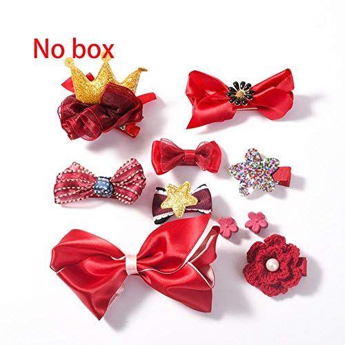 jiangyanyiliao 10 / box set bebé bambino carino nastro per capelli cerchio dei capelli tessuto fiore capelli clip,vino rosso nessuna scatola