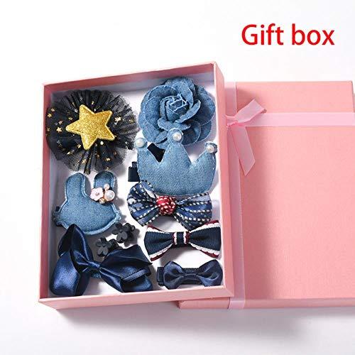 jiangyanyiliao 10 / box set bebé bambino carino nastro per capelli cerchio dei capelli tessuto fiore capelli clip,gift box - navy