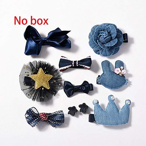 jiangyanyiliao 10 / box set bebé bambino carino nastro per capelli cerchio dei capelli tessuto fiore capelli clip,nessuna scatola - marine