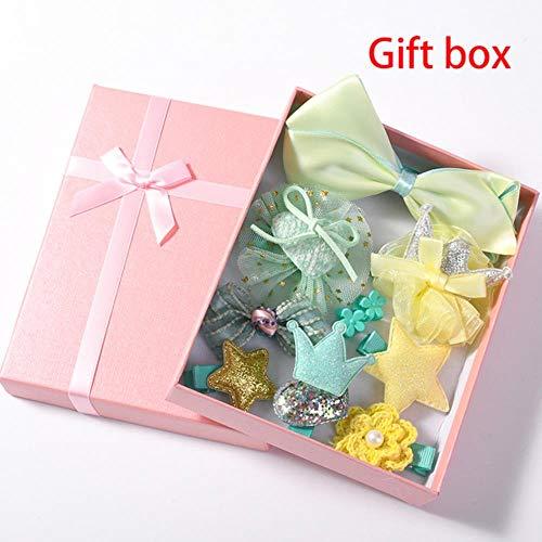 jiangyanyiliao 10 / box set bebé bambino carino nastro per capelli cerchio dei capelli tessuto fiore capelli clip,giallo regalo
