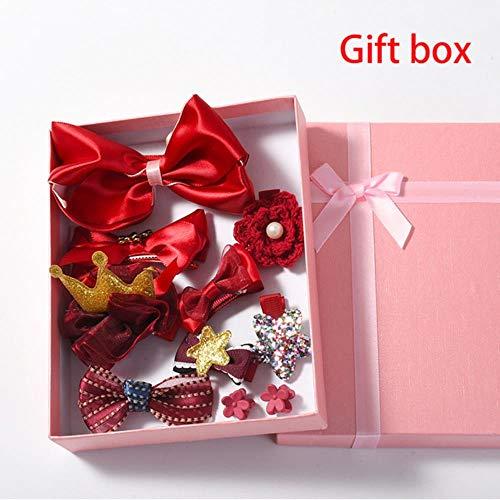 jiangyanyiliao 10 / box set bebé bambino carino nastro per capelli cerchio dei capelli tessuto fiore capelli clip,confezione regalo bordeaux