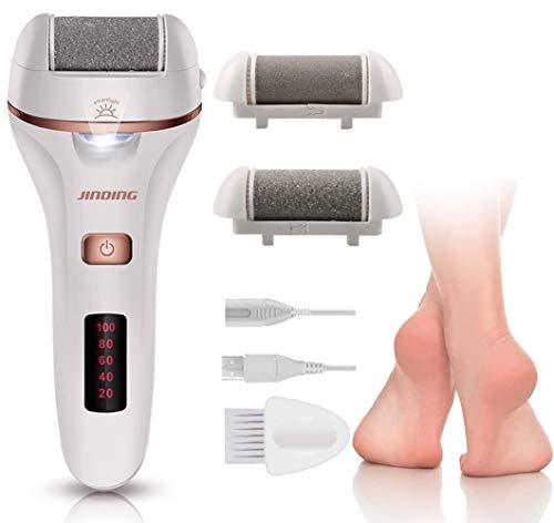 ydd grattugia per piedi elettrica, pedicure elettrica professionale, grattugia a piedi con led light, con 2 rulli levigatrice per la cura dei piedi professionali per talloni tendigliati e pelle dura.