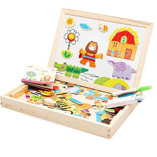judt tavolo da disegno puzzle magnetico,judt pezzi di puzzle fattoria con lavagna bifacciale e lavagna bambini che imparano il set di giocattoli educativi in legno con puzzle magnetico