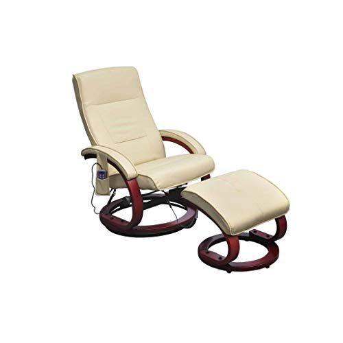 vidaxl poltrona relax massaggiante reclinabile crema con poggiapiedi