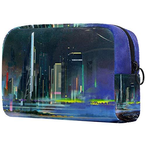 TIZORAX Painted A Fantastic Night CityMakeup Beauty Bag organizer da viaggio per accessori, shampoo, contenitore di dimensioni standard, articoli da toeletta