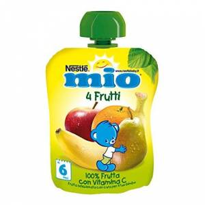 Mitac Nestlé Mio Frutta Grattugiata da Spremere 4 Frutti 100% Frutta senza Glutine da 6 Mesi,da 90 ml
