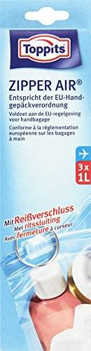 toppits zipper air per bagaglio a mano, 1 litro, cerniera, 3 pz, trasparenza