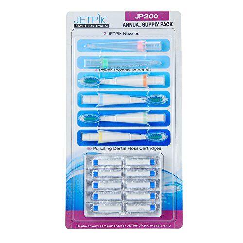 jetpik jp200annuale confezione contiene sonic brush heads/water flossugello/filo interdentale cartucce