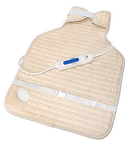 pekatherm pekathrem - termoforo elettrico per schiena e collo, 100 w   cuscino termico per cervicale 3 livelli di temperatura, autostop 2 ore, lavabile a mano o in lavatrice, 56x39cm
