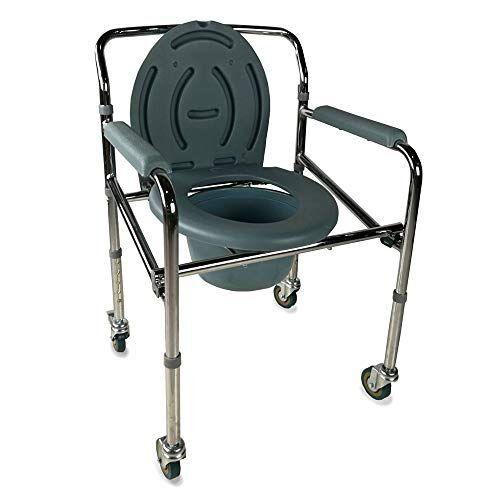 mobiclinic, sedia con wc, muelle, marchio europeo, per disabili, anziani, pieghevole, braccioli, seduta ergonomica, piedini antiscivolo, colore grigio scuro